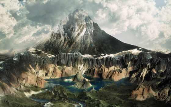 горы, iphone, телефон, красавица, облаках, гор, озеро, разное, страница,