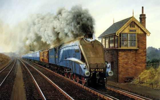steam, paintings, trains, поезд, живопись, art, pinterest, железный, british, локомотив,