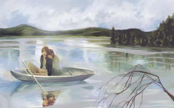 девушка, рисунок, лодка