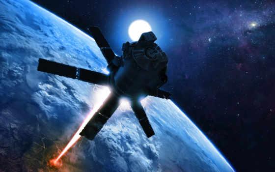 планета, земля, космос, арт, лазер, луч, орбита, alexiuss, спутник, картинка,