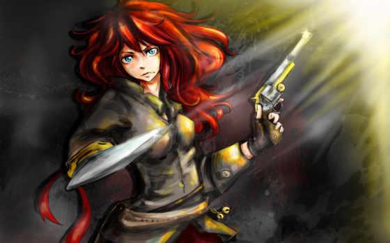 рыжая, девушка, art, mirukawa, tails, оружие, пистолет,