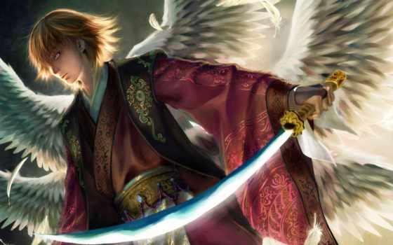 angel, меч, свет