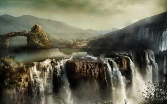 скале, castle, among, стоит, которого, озеро, со, водопадом, iphone, горное,