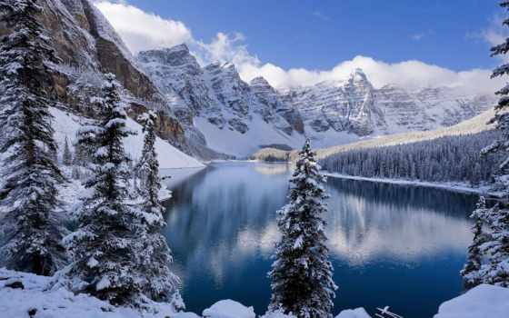 winter, компьютер, озеро, зимы, бесплатные, moraine, снег,