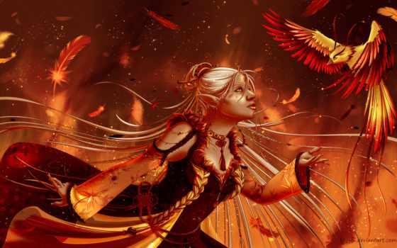 phoenix, птица, девушка, fantasy, эльф,
