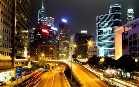 пейзажи -, город, городские, мегаполисов, ночь, alliance, автострада, огни, шикарные, россии,
