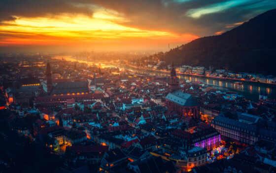 город, heidelberg, landscape, germanii, urban, ночь, вечер, горизонт