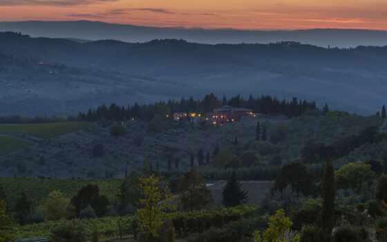 hill, even, поле, дерево, italy, house, огни, вечер, dusk, сумерки, закат