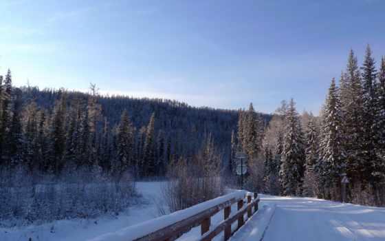 winter, снег, мост, зимние, até, desktop, главная, дорога,