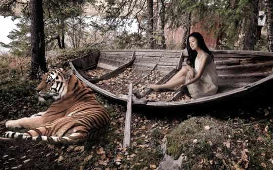 тигр, девушка, лодка, лук, tomb,