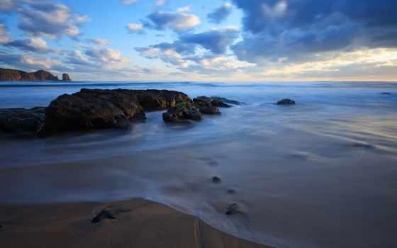 берег, камни, вечер