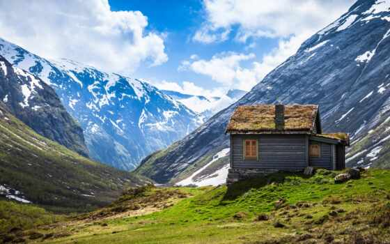 горы, норвегия, norwegian, lodge, небо, oblaka, широкоформатные, снег, трава,