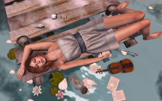 девушка, скрипка, цветы