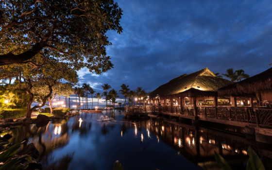 hawaii, свет, ночь