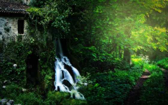 водопады, природа, водопад, лес, лесу, картинка, landscape, сша, waterfalls, нота,