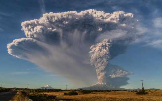 вулкан, кальбуко, chile, извержение, вулкана, calbuco,
