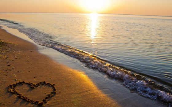 сердце, море, песок, природа, water, река, пляж, широкоэкранные,
