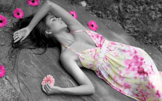 девушка, лежит, сарафане, сарафаны, платье, красивая, камне, cvety, разрешениях, летние, разных,