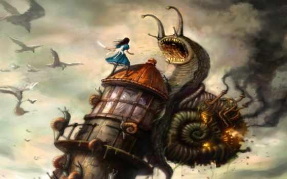 алиса, улитки, монстры, игры, отвратительные, персонажа, башню, взобравшись, атакуют, алису, madness, returns, snail,