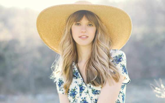 девушка, шляпа, взгляд