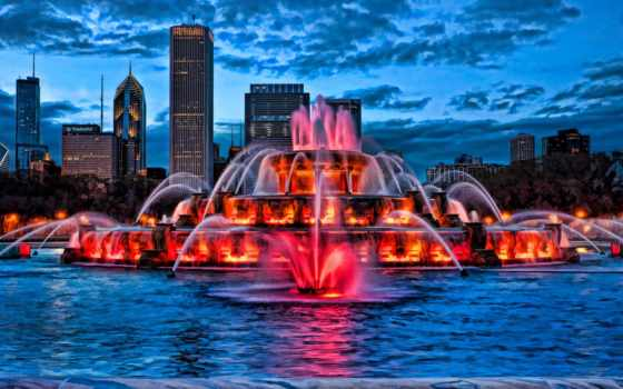fountain, фонтанов, usa, chicago, монжуик, branch, подсветка,