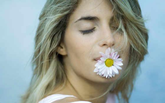 девушка, цветком, рту, devushki,
