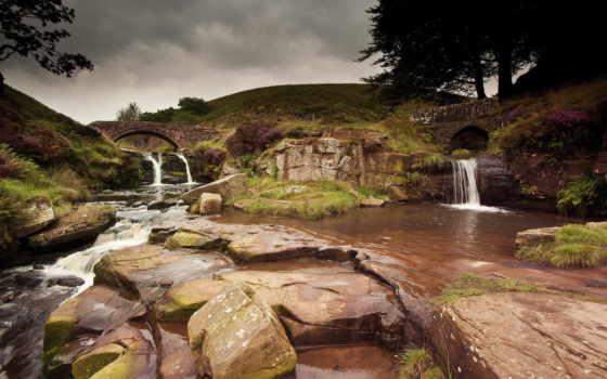 inglaterra, paisagens, rio, sobre, ponte, фото, js, trs,