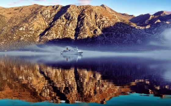 montenegro, котор, пейзажи -, корабль, город, cruising, bay,