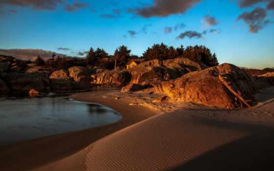 природа, пляж, главная, пейзажи -, pictures, rock, море, берег, нояб, скалы, trees,