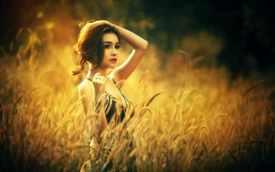 девушка, макро, поле, модель, lovely, asian, high, resolution,