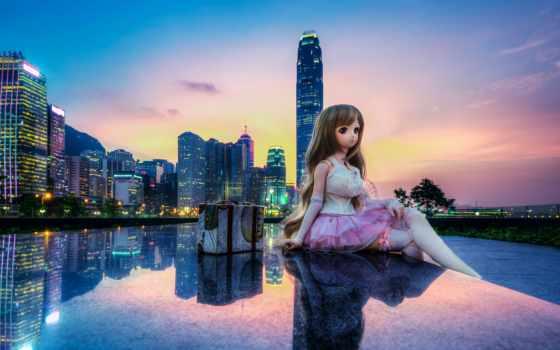 doll, hong, девушка, китаянка, город, отражение, закат, здания, которые,