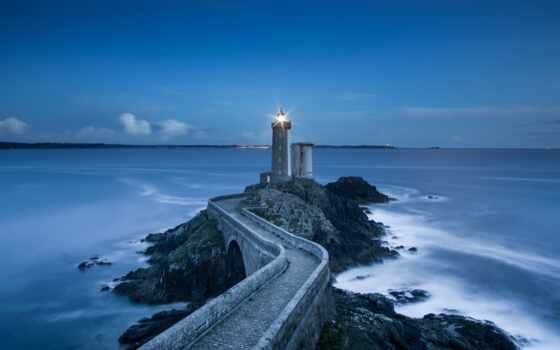 lighthouse, море, вечер, фото, камень, горизонт, landscape, blue, дорогой, стена, surf
