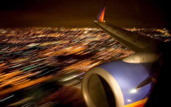 турбина, огни, крыло, города, ночь, самолёт, самолета, размытие, высоты, der, airline, you,