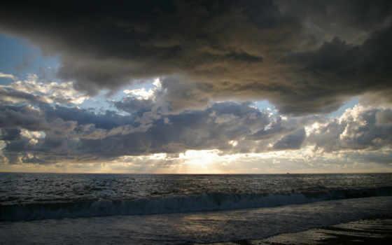 тучи, закат, море