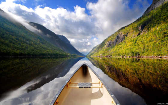лодка, река, горы