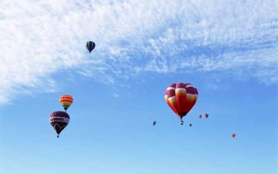 шары, небо, воздушные, multicolored, полет, oblaka,