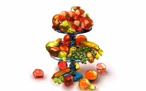 фрукты, ваза, stand, разнообразие, фруктами, share,