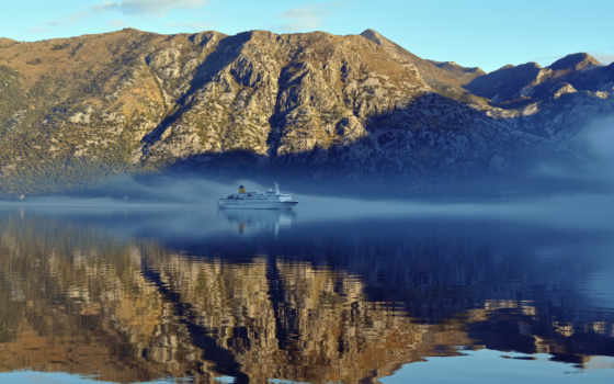 montenegro, котор, bay, корабль, cruising, рисунок,