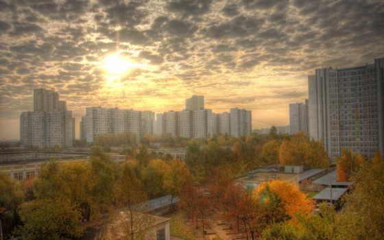 город, осень, park, россия, desktop, skyscrapers, full,