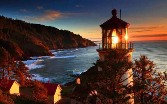 lighthouse, природа, море, самые, сша, побережье, heceta, oregon, голова,