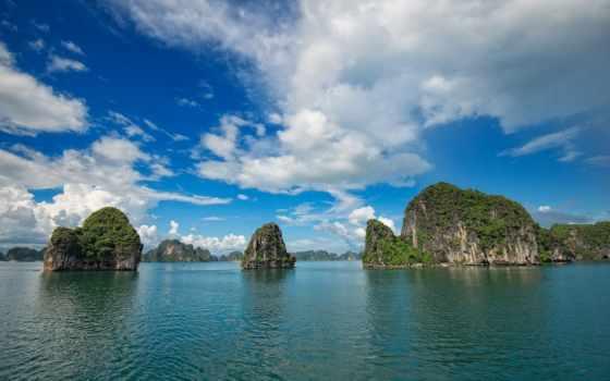 небо, clouds, остров, vietnam, море, ecran,