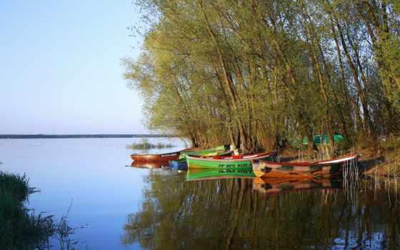 небо, tapety, пейзажи -, landscape, дома, trees, река, лодки, boats, zoom,
