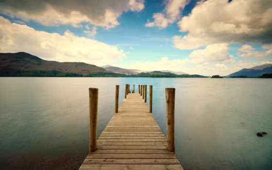 море, природа, мост, water, небо, доски, pier, забор, hill,