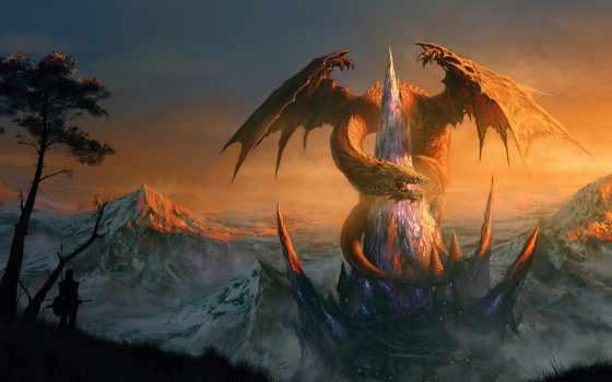 дракон, castle, art, rock, fortress, люди, house