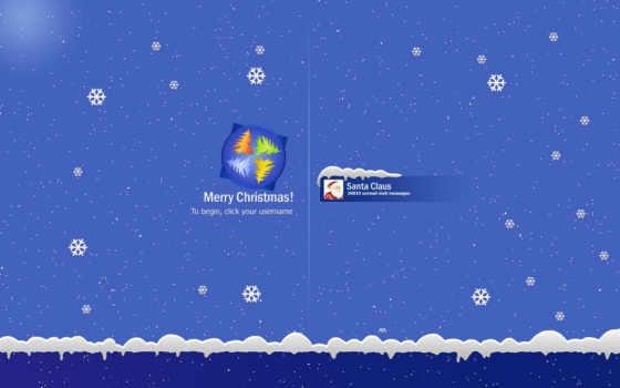 снег, заставка, christmas, год, новый, santa, windows, снежинки, claus, логотип, user, login,