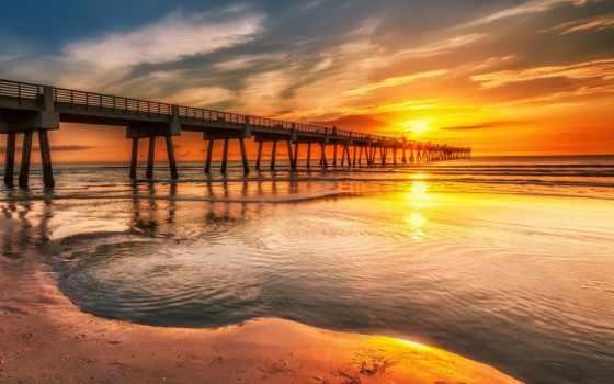 закат, море, pier