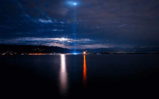 море, ночное, моря, свет, город, лодка, виды, небо, lighthouse,