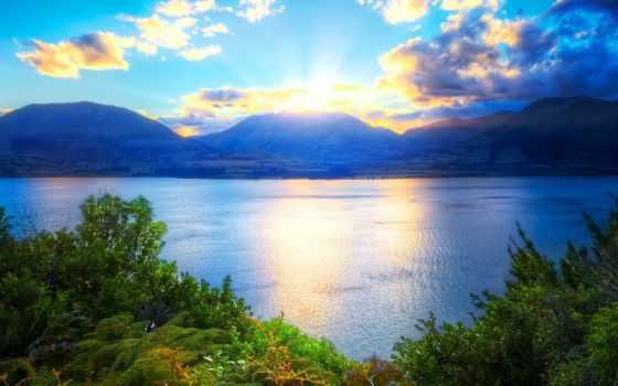 природа, красиво, зелёный, sun, растения, water, озеро, горы, картинка, oblaka, небо,