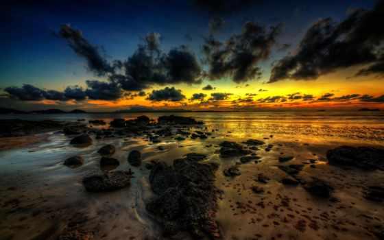 закат, золотистый, linux, hour, oblaka, море, природа, jpb,