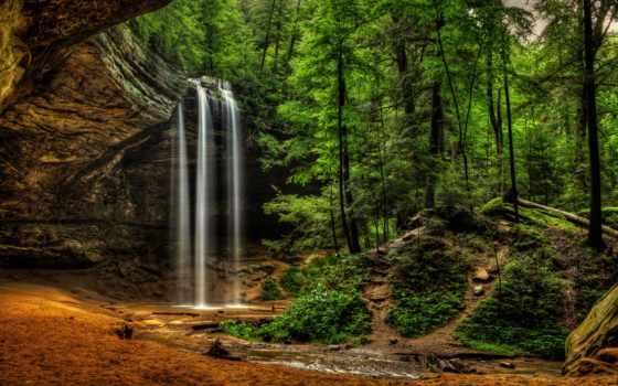 hills, hocking, пещера, park, state, пепельный, ohio, logan, falls,